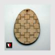 Nagy natúr dekorálható geometriai mintás fa tojás