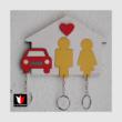 Páros fali kulcstartó 1 autóval festett
