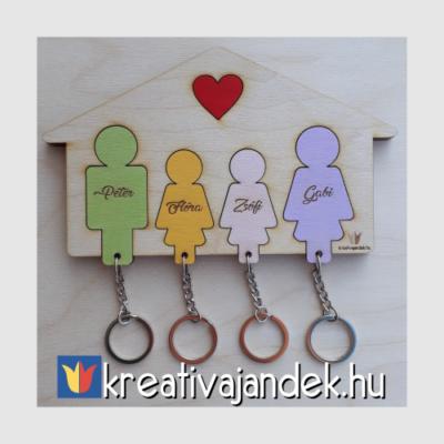négytagú család fali kulcstartó lányokkal