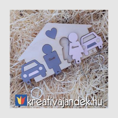 névre szóló színes páros kulcstartó