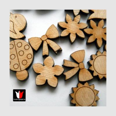 20 darabos fa figurák katica csibe virág masni