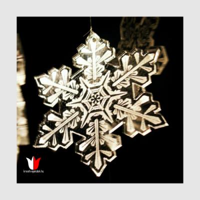 tükröződő hópehely karácsonyfa dísz