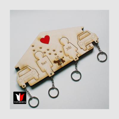 Kutyás páros fali kulcs,-és póráztartó két autóval