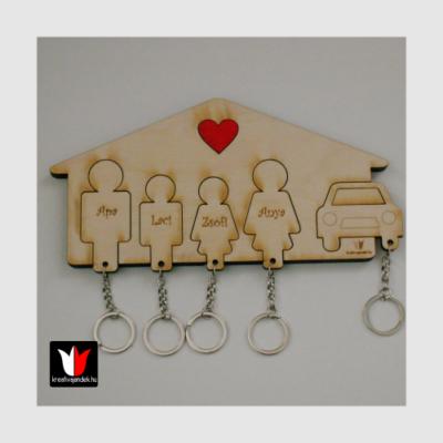családi autós fali kulcstartó