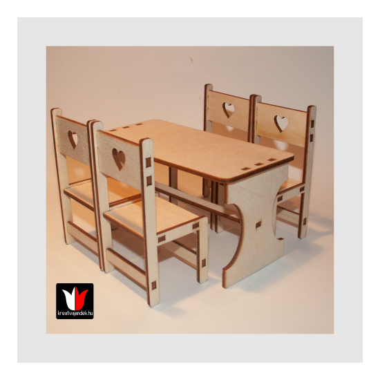 asztal székekkel játékbútor