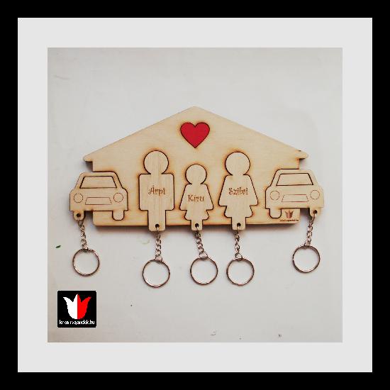 Névvel gravírozott Apa-Lány-Anya-Autó2 fali kulcstartó