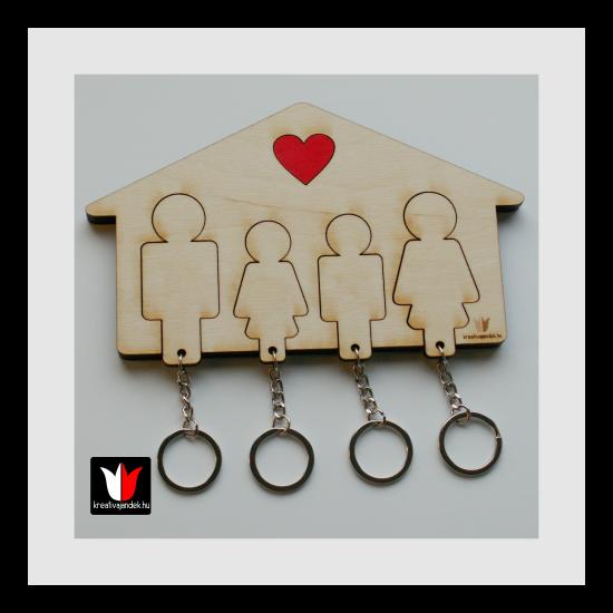 családi fali kulcstartó natúr