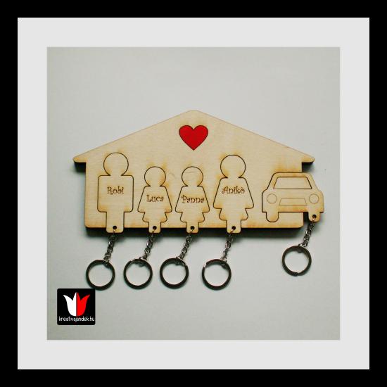 Névvel gravírozott Apa-Lány-Lány-Anya-Autó1 kulcstartó