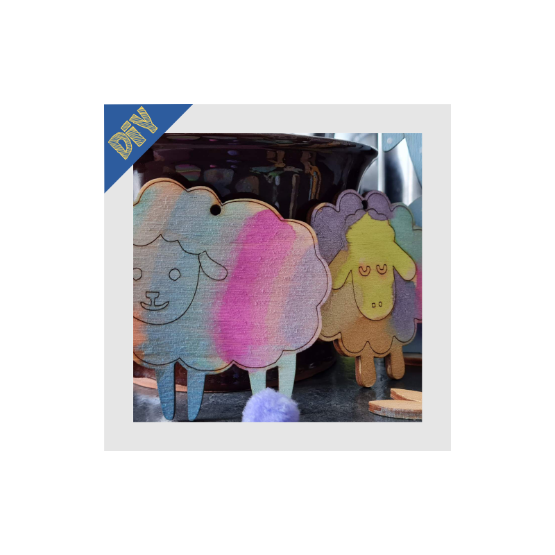Fa bárányok vízfestékkel festve