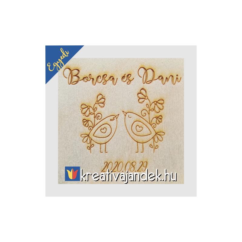 Esküvői ajándék díszdoboz  minta vidám madarak